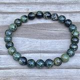 "Semi-Precious Gemstone Kambaba Jasper 8 mm Round Beads Smooth Beads with Stretch Bracelet 7"" Bracelet for Women Men Girls Gifts (Unisex)"