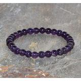"Semi-Precious Gemstone Amethyst 6 mm Round Beads Smooth Beads Stretch Bracelet 7"" Bracelet for Women Men Girls Gifts (Unisex)"