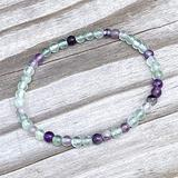 "Semi-Precious Gemstone Fluorite 4 mm Round Beads Smooth Beads with Stretch Bracelet 7"" Bracelet for Women Men Girls Gifts (Unisex)"
