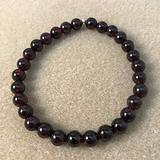 "Semi-Precious Gemstone Garnet 6 mm Round Beads Smooth Beads with Stretch Bracelet 7"" Bracelet for Women Men Girls Gifts (Unisex)"