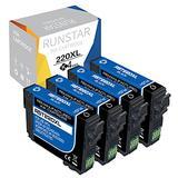 RunStar Remanufactured 220 Black Ink Cartridge Replacement for Epson 220XL T220XL T220 XL Work for Workforce WF-2760 WF-2750 WF-2660 WF-2650 WF-2630 XP-424 XP-420 XP-320 Inkjet Printer (4-Pack BK)