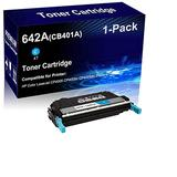 1-Pack (Cyan) Compatible Laser Toner Cartridge High Yield Replacement for HP 642A | CB401A | Laser Printer Toner Cartridge use for HP Color Laserjet CP4005 CP4005n CP4005dn Printer