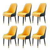 HLY Commercial Chairs,Modern Accent Kitchen Dining Room Chair, Leather Cushion Dining Chair, Makeup Stool Dressing Sofa Seat, for Living Room, Restaurant (Color : Yellow, Size : 1Pcs),Yellow,6pcs