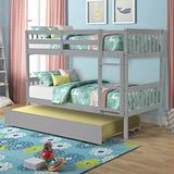 COODENKEY Twin Safety Rail and Ladder, Trundle Solid Wood Bunk Beds for Kids Bedroom, Grey