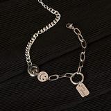 HFDJ All-Match Smiley face Bracelet, ins Niche Design Girl Girlfriends Titanium Steel Transfer Temperament Bracelet, Bracelet, Adjustable Chain Bracelet