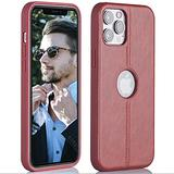 Super Slim Leather Case iPhone 12 Pro Max 6.7 '' - iPhone 12 Pro Max Phone Case Luxury and Premium Leather –Apple iPhone Cases 2020 for Men and Women (Red)