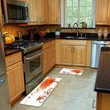 FOURFOOL 2 Pcs Kitchen Mat Set,Autumn Nature Fall Red Maple Leaves and Bicycle Non-Slip Kitchen Mats and Rugs Soft Flannel Non-Slip Area Runner Rug Washable Durable Doormat Carpet