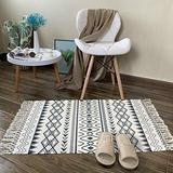 Abreeze Cream and Black Geometric Cotton Area Rug 2'x3' Machine Washable Printed Cotton Rugs with Tassel Hand Woven Cotton Rug Runner for Farmhouse,Kitchen, Living Room, Bedroom