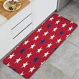 ASNIVI Kitchen Rug Mat Red Blue Stars On Red Background Non-Slip Absorbent Runner Rug for Kitchen Floor,Entryway,Hallway and Dining Room,Machine Washable