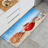ASNIVI Kitchen Rug Mat Many Conch Shells with Red Love Hearts On The Beach Non-Slip Absorbent Runner Rug for Kitchen Floor,Entryway,Hallway and Dining Room,Machine Washable