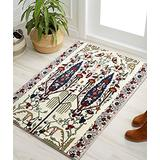 YoKii Persian Floral Area Rugs 2x3 Faux Wool Abstract Garden Design Vintage Kitchen Rug Rubber Backed Distressed Tribal Throw Rug for Bedroom Bathroom Entryway Floor Mat Washable (2x3, Beige)