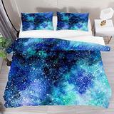 FOLPPLY Waterclor Universe Blue Nebula Galaxy Duvet Cover Set, California King Bedding Set 3 Pieces, Comforter Sheet Set with Pillow Shams Room Decor for Boys Girls Teens Adults