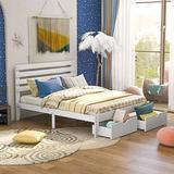 Queen Bed Frame with 2 Drawers, Queen Bed Frame with Storage, Platform Bed Frame Queen with Headboard, Queen Bed for Kids, Teens and Adults, White