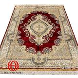 Yuchen 6x9ft Vintage Hand Knotted Rug Red Silk Persian Qum Rug for Living Room