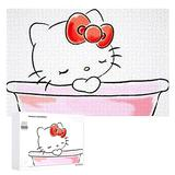 Piece Jigsaw Puzzle for Adults, Hello Kitty & Bathtub Puzzle DIY Kit Wooden Puzzle Modern Home Decor Unique for Lovers or Friends 1000 PCS