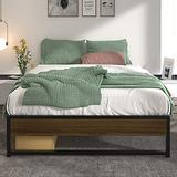 Allewie Full Size Modern Platform Bed Frame with Vintage Headboard, 14 Inches Metal Mattress Foundation with Storage, No Box Spring Needed, Easy Assembly, Black