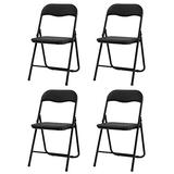Goujxcy 4-Pack Metal Folding Chair, Foldable Conference Chairs Set Upholstered Padded Seat and Back with Metal Frame for Home Office Waiting Room Guest Reception Party (4-Pack)