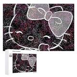 Piece Jigsaw Puzzle for Adults, Shiny Hello Kitty Puzzle DIY Kit Wooden Puzzle Modern Home Decor Unique for Lovers or Friends 1000 PCS