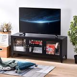 æ— 47 Inch TV Media Cabinet with Glass Doors Metal TV Stand with Storage Cabinet and Shelves for Living Room, Bedroom, Entertainment Center