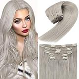 Human Hair Clip in Extensions Silver Grey 10inch 5pcs Hair Extensions Clip in Human Hair Grey Blonde Clip in Hair Extensions Gray 70g