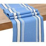 Blue Cotton Table Runner - Table Runner Blue - Cotton Table Runners - Cotton Table Runner Blue - Blue Table Runner 72 inch Long - Striped Table Runner(French Stripe Tablerunner - 14x72, Blue (Full))