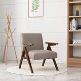 HUIMO Accent Chair & Armchair, Wooden Mid-Century Modern Lounge Chair, Fabric Accent Chairs for Living Room, Elegant Upholstered Reading Chair,Bedroom,Side Chair (Light Brown)