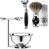 ACRIMAX Luxury Safety Razor Shaving Kit - Includes Shaving Razors, Stand, Bowl, Badger Brush - Safety Razor Kit for Men Dad Son, Anti Slip Razor Handle Compatible for Mach 3 Blades