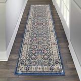 "Nourison Global Vintage Persian Bordered Nav/Multicolor 2'4"" x 8' Area Rug , (8' Runner)"