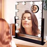 Depuley Makeup Vanity Mirror with Lights with 12 Dimmable LED Light, Hollywood Lighted Makeup Vanity Mirror with 360°Rotation, 3 Color Mode Lighted Mirror , Smart Touch Control, 10X Magnification