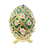 XUXUWA Enameled Egg Painted Enameled Egg Hinged Jewelry Box Craft Trinket for Gifts Wedding Jewelry Display for Rings Necklaces (Color : Green, Size : 4.5x6.5cm)