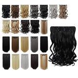 Hair Extensions For Hair Black Clip in Hair Extension 18 Inch Wavy Hair Extensions Hair Pieces Synthetic Clip Hair Extensions Cheap For Women Girls Blonde Hair Extensions Clip in Dark Black 5.5 OZ#1
