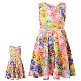 Matching Girl & Doll Dresses Cat Swing Skater Tank Dress Clothes for Girls,12-13Y
