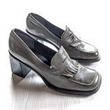 Nine West Shoes | Nine West Vintage Y2k Square Toe Chunky Heels | Color: Black/Green | Size: 9