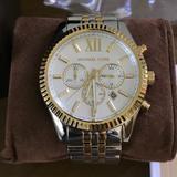 Michael Kors Accessories | Men'S Chronograph Lexington Two-Tone Watch | Color: Gold/Silver | Size: 45mm