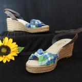 American Eagle Outfitters Shoes | New American Eagle Ankle Strap Espadrille Sandals | Color: Blue/Green | Size: 7