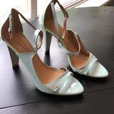 Zara Shoes | Blue Patent Leather Heels By Zara Woman Sz 37 | Color: Blue | Size: 6.5