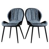 HLY Commercial Chairs,Dining Chairs Retro Leather Living Room Bedroom Makeup Stool Seat Set Metal Leg Kitchen Dining Room Office with Thickness Padded (Color : D, Size : 1),A,2