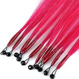 8D Human Hair Extension Remy Human Hair Extensions Straight Nano Ring Loop 8D Hair Extensions 100% Human Micro Ring Extension 8D Hair Extension 10 Strands 35cm (Color : Rose red)