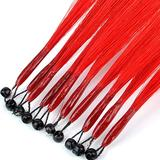 8D Human Hair Extension Remy Human Hair Extensions Straight Nano Ring Loop 8D Hair Extensions 100% Human Micro Ring Extension 8D Hair Extension 10 Strands 35cm (Color : Red)