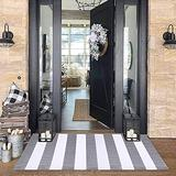 Grey and White Striped Rug 2' x 4.3' Farmhouse Rug Hallway Runner Checkered Washable Indoor Outdoor Rug Runner for Kitchen/Laundry/Bathroom/Bedroom