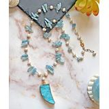 My Gems Rock! Women's Necklaces blue - Cultured Pearl & Blue Agate Drusy Chip Bead Pendant Necklace