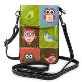 Crossbody Cell Phone Purse Birds And Owls Small Crossbody Bags Women Pu Leather Shoulder Bag Handbag