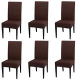 INMOZATA Chair Covers for Dining Room Set of 6, Spandex Fabric Fit Stretch Dining Chair Covers, Washable Removable Parson Chair slipcovers for Hotel,Ceremony,Banquet, Wedding Party (Brown)
