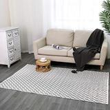 Boho Woven Area Rug Moroccan Indoor Outdoor Rug Cotton Throw Area Rug 4'x6', Farmhouse Accent Small Area Rug Washable Door Mat Tribal Throw Carpet for Porch Living Room Kitchen Bedroom, Black Cream