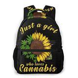 SWEET TANG Boys Grils Rucksacks Back to School Gift - Who Loves Cannabis Leaf Shoulder Bag School Daypack Backpack Travel Hiking Daypack, Casual Daypack Climbing Shoulder Bag Backpack