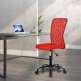 Home Office Chair Computer Chair Mid Back Mesh Chair, Desk Chair Height Adjustable Small Office Chair Modern Task Chair No Armrest Cheap Rolling Swivel Chair Student Office Chair with Wheels,Red
