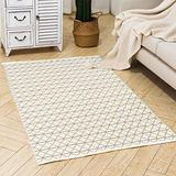 Boho Woven Area Rug Moroccan Indoor Outdoor Rug Cotton Throw Area Rug 3'x5', Farmhouse Accent Small Area Rug Washable Door Mat Tribal Throw Carpet for Porch Living Room Kitchen Bedroom, Yellow Cream