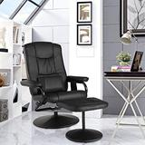 Basics Ergonomic Massage Recliner Living Room Classic Recliner with Ottoman Stressless Chairs Black Leather Recliner Office Reading Chair Rocking Recliner Chair for Nursery (Classic)