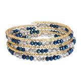 Beaded wrap bracelet, 'Sunlight and Sea'
