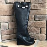 Michael Kors Shoes | Mk Calista Knee High Wedge Boot 9 | Color: Black | Size: 9
